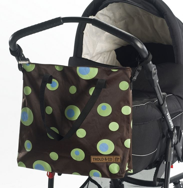 babytrold tasche f r kinderwagen lime kreise braun. Black Bedroom Furniture Sets. Home Design Ideas