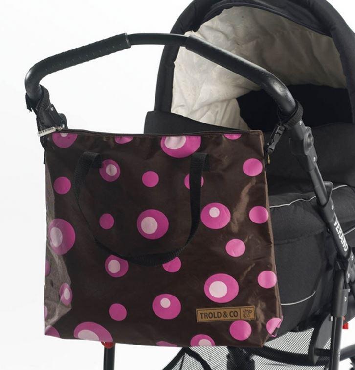 babytrold tasche f r kinderwagen rosa kreise braun. Black Bedroom Furniture Sets. Home Design Ideas