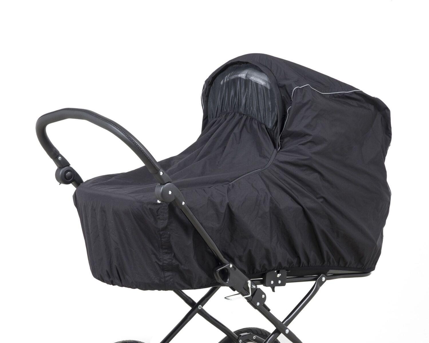 e50705ca0 Babytrold Regnslag LUX med myggenet og refleks, Sort