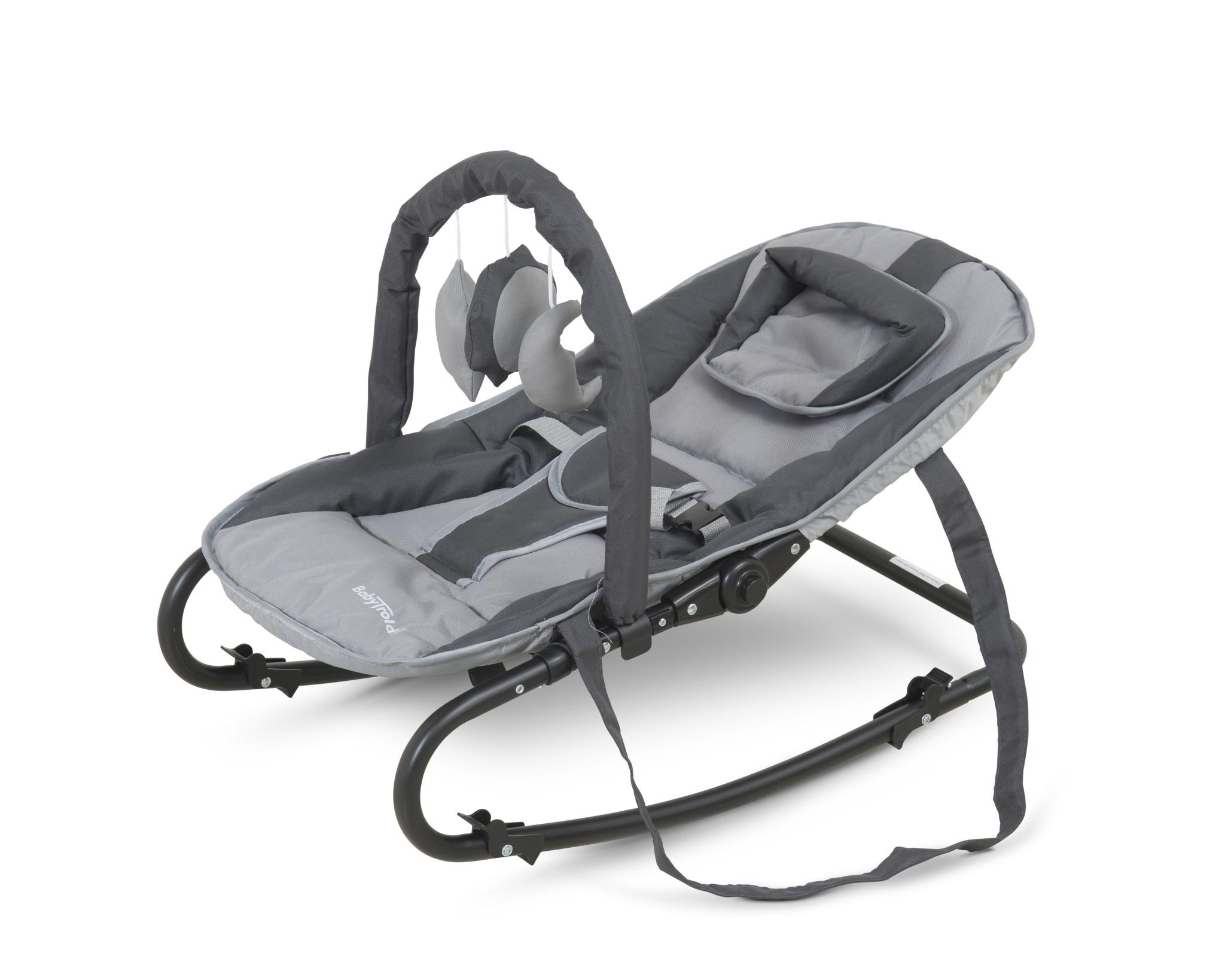 Babystuhl wippe mit spielzeug grau stuhl